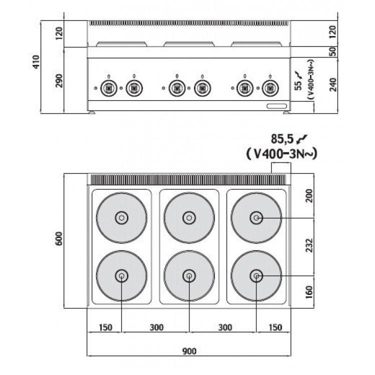 Плита електрична Bertos E6P6B