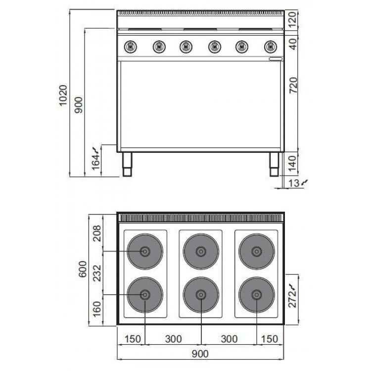 Плита электрическая Bertos E6P6M