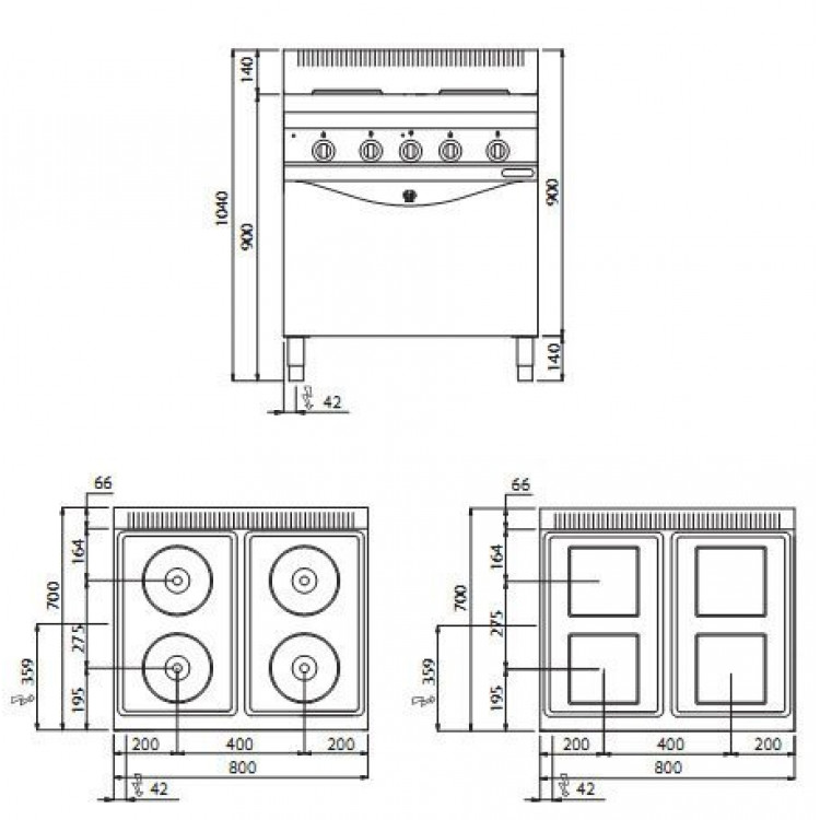 Плита електрична Bertos E7P4 + FE1