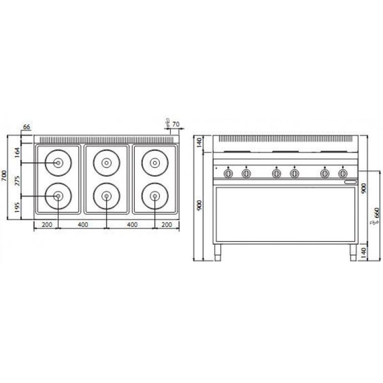 Плита електрична Bertos E7P6M