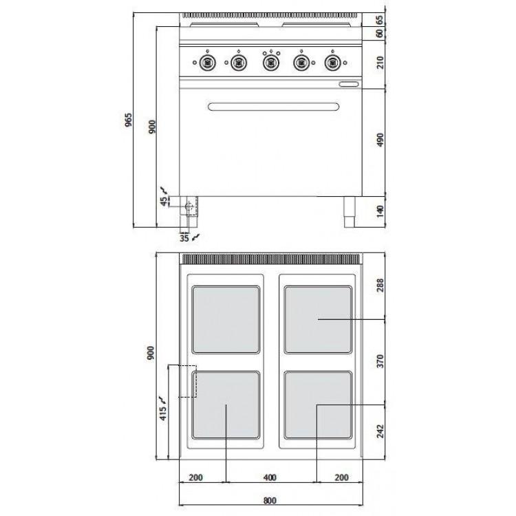Плита електрична Bertos E9PQ4 + FE1