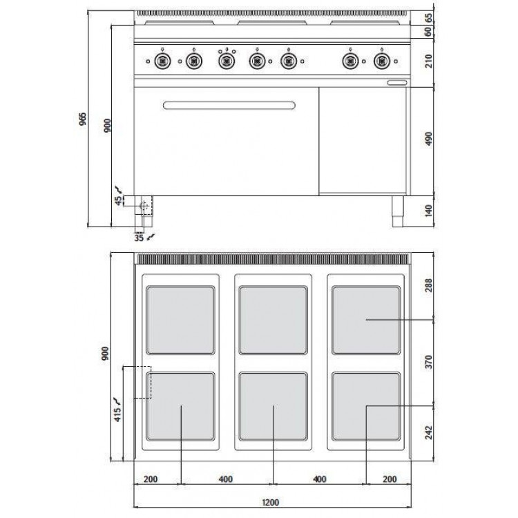 Плита електрична Bertos E9PQ6 + FE1